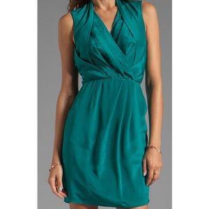 ANTHROPOLOGIE GREYLIN TEAL SILK DRESS SIZE SMALL